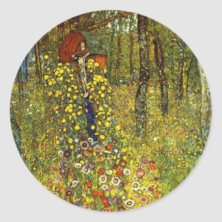 Farm Garden with Crucifix by Gustav Klimt Classic Round Sticker