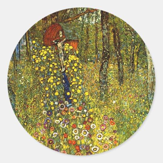 Farm Garden with Crucifix by Gustav Klimt Classic Round Sticker