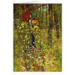 Farm Garden with Crucifix by Gustav Klimt Greeting Card