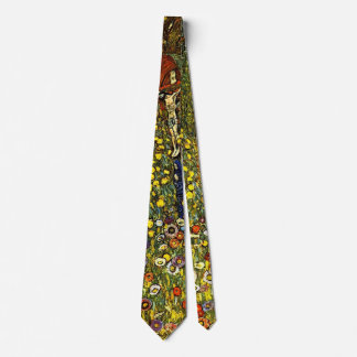 Farm Garden with Crucifix by Gustav Klimt Neck Tie