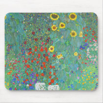Farm Garden with Sunflowers by Gustav Klimt Mouse Pad