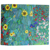 Farm Garden with Sunflowers, Gustav Klimt 3 Ring Binder