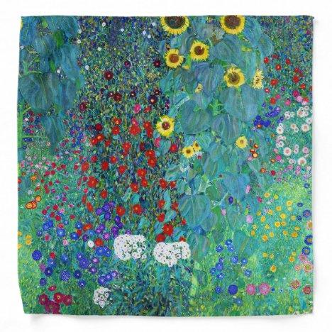 Farm Garden with Sunflowers, Gustav Klimt Bandana