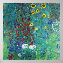 Farm Garden with Sunflowers, Gustav Klimt Poster