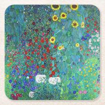 Farm Garden with Sunflowers, Gustav Klimt Square Paper Coaster