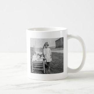Farm Girl and Her Doll Friends Vintage Coffee Mug