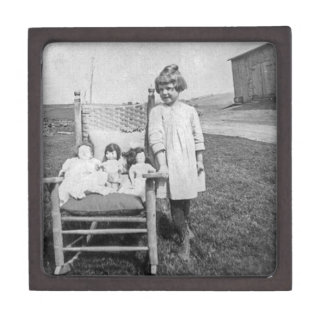 Farm Girl and Her Doll Friends Vintage Gift Box