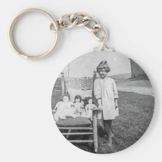Farm Girl and Her Doll Friends Vintage Keychain