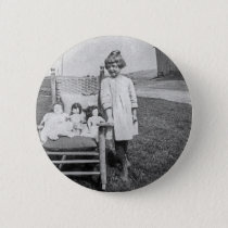 Farm Girl and Her Doll Friends Vintage Pinback Button
