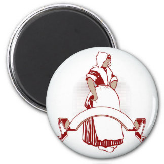 farm girl emblem 2 inch round magnet