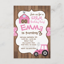 Farm Girl Invitation, Pink barnyard and tractor Invitation