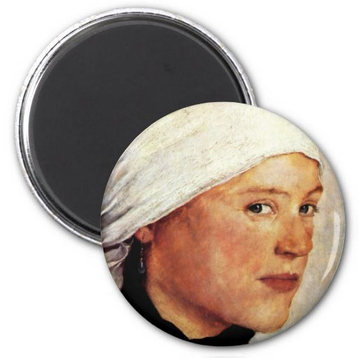 Farm Girl With A White Head Scarf By Leibl Wilhelm Magnets