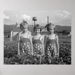 Farm Girls, 1939. Vintage Photo Poster