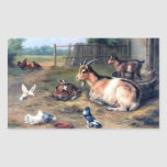 Farm Goat Kids Pigeons Rectangle Sticker