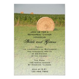 "Farm Hay Bales Country Rehearsal Dinner Invite 5"" X 7"" Invitation Card"