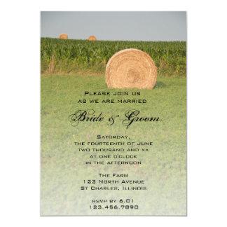 "Farm Hay Bales Country Wedding Invitation 5"" X 7"" Invitation Card"