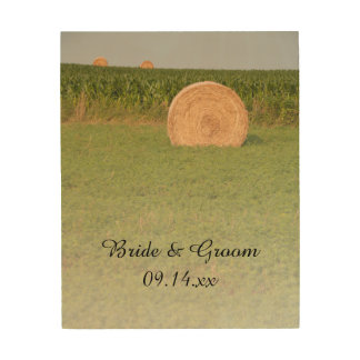 Farm Hay Bales Country Wedding Keepsake Wood Print