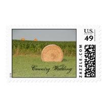 Farm Hay Bales Country Wedding Postage