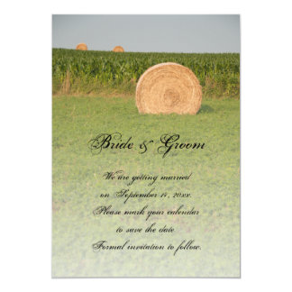 """Farm Hay Bales Country Wedding Save the Date 5"""" X 7"""" Invitation Card"""