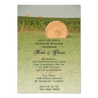 "Farm Hay Bales Country Wedding Shower Invitation 5"" X 7"" Invitation Card"