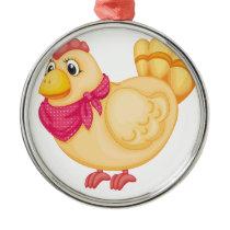Farm hen design metal ornament