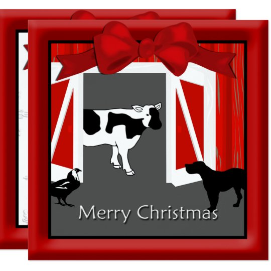 Farm Homestead Barn Animals Christmas Greeting Card