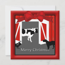 Farm Homestead Barn Animals Christmas Greeting Holiday Card