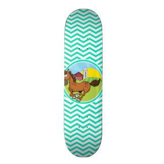 Farm Horse; Aqua Green Chevron Skate Board Deck