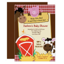 Farm Horse Cow Pig Barnyard Baby Shower Invitation