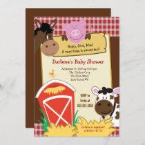 Farm Horse Cow Pig Barnyard Baby Shower Invitation