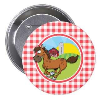 Farm Horse; Red and White Gingham Button