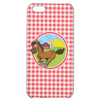 Farm Horse; Red and White Gingham iPhone 5C Covers