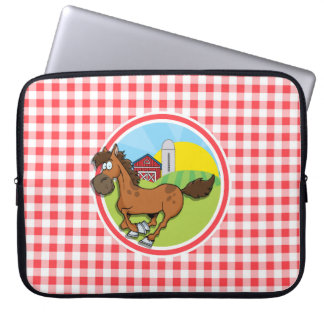 Farm Horse; Red and White Gingham Computer Sleeves
