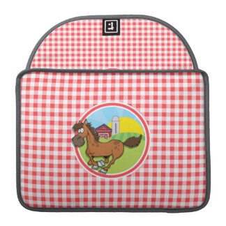 Farm Horse; Red and White Gingham Sleeves For MacBooks
