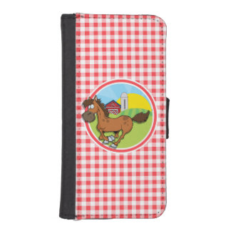 Farm Horse; Red and White Gingham Phone Wallet