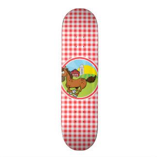 Farm Horse; Red and White Gingham Custom Skateboard