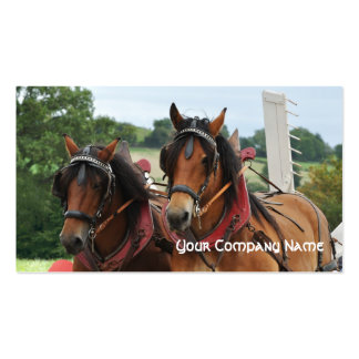 Farm horses pulling a tedder business card