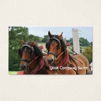 Farm horses pulling a tedder business card