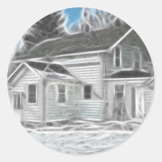 Farm House 1 Enhanced Oil Classic Round Sticker
