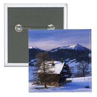Farm house and Mount Rigi and Pilatus, 2 Inch Square Button