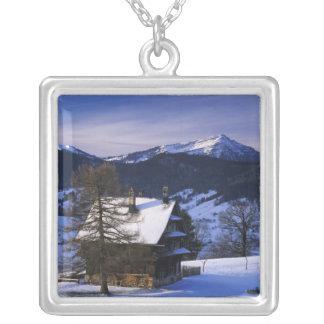 Farm house and Mount Rigi and Pilatus, Square Pendant Necklace