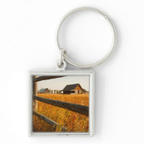 Farm House And Rail Fence In Grand Teton Keychain