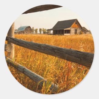 Farm House And Rail Fence In Grand Teton Round Sticker