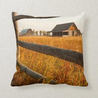 Farm House And Rail Fence In Grand Teton Throw Pillow