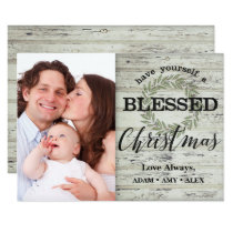Farm House Blessed Christmas Shiplap Wreath Card