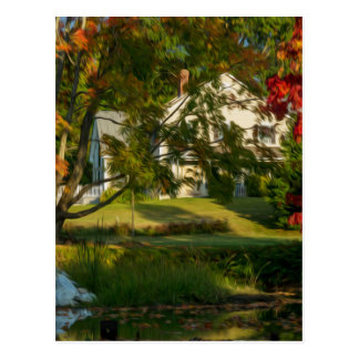 Farm house by the river postcard