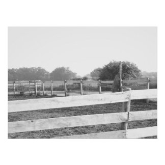 Farm House Corral/Black & White Photography Posters