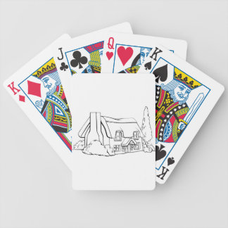 Farm house cottage bicycle playing cards