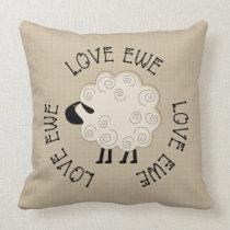 Farm House Prim Love Ewe Throw Pillow