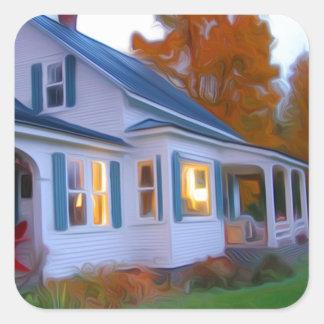 Farm house square sticker